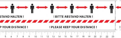 Kleben schützt: Optische Warnungen zum Corona-Schutz PVC-Selbstklebeband mit Warnhinweis: Bitte Abstand halten!